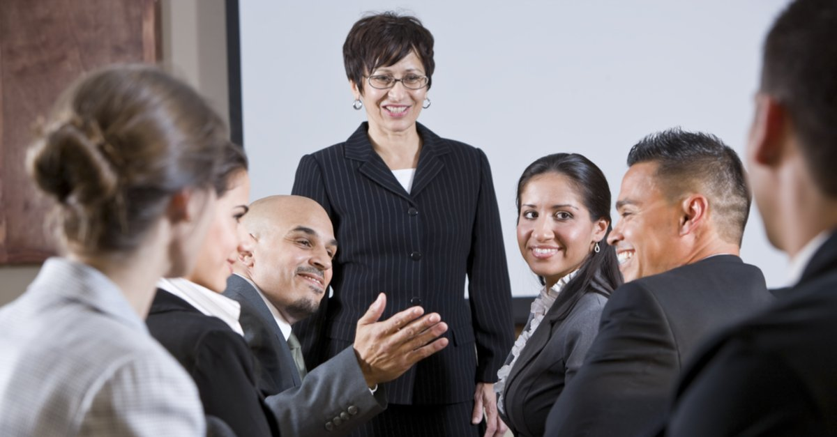 Group of professionals having an animated friendly discussion