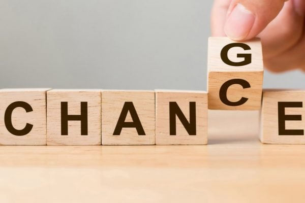 alhabet blocks spelling 'change' and changing to 'chance'