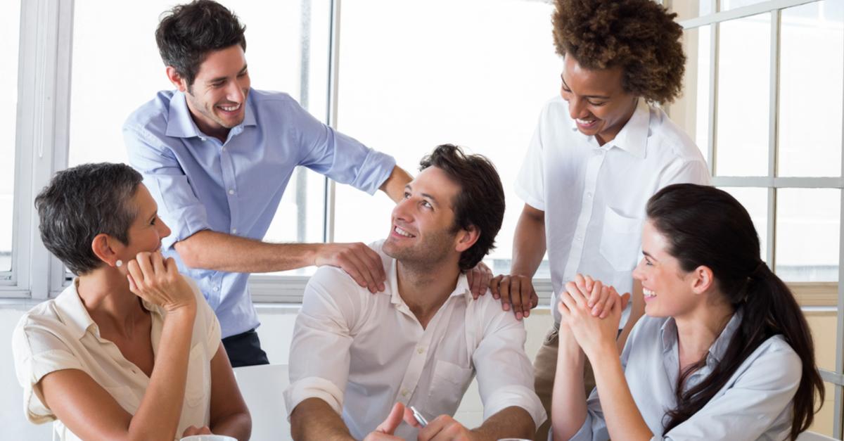 Professionals praising a colleague