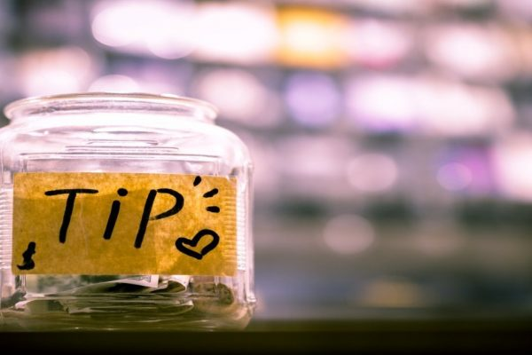 Tips jar on counter