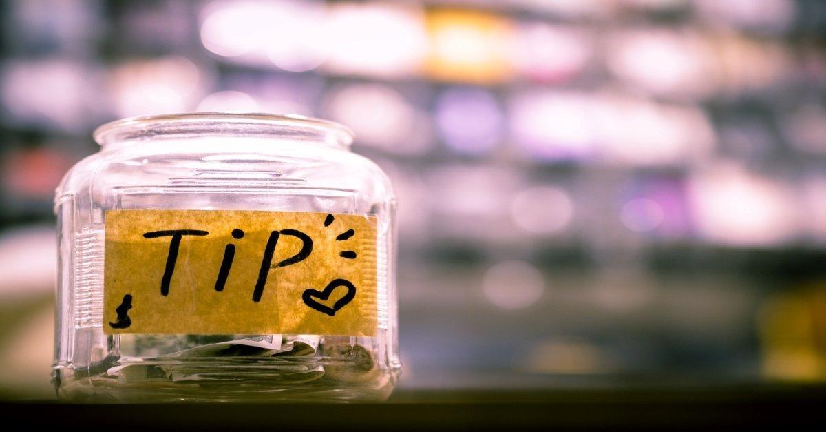Tips jar on counter