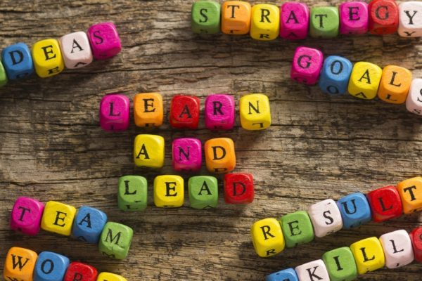 Learn and lead spelt out in coloured building blocks