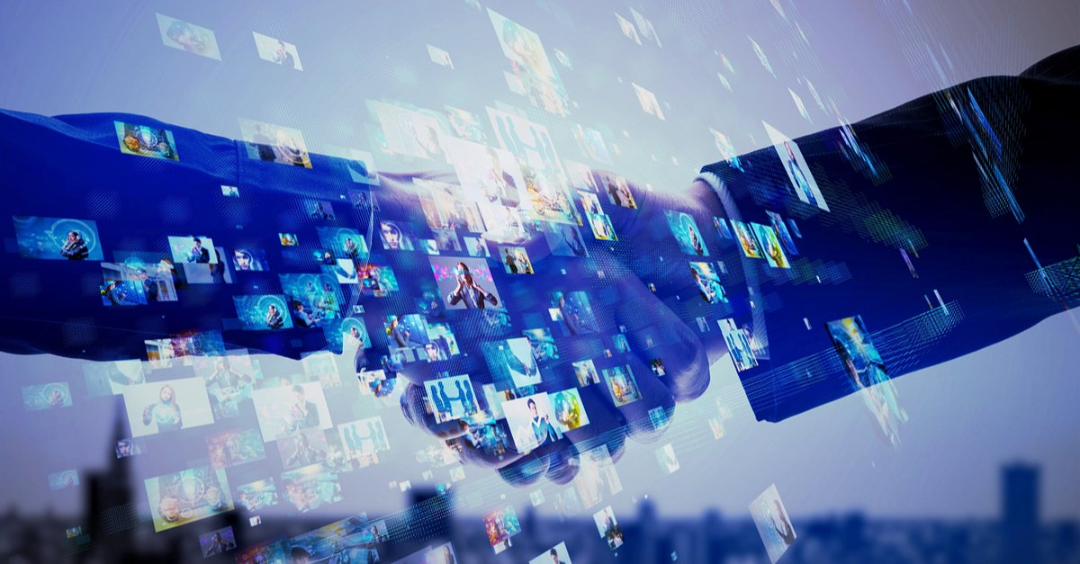 Digital background with two people shaking hands